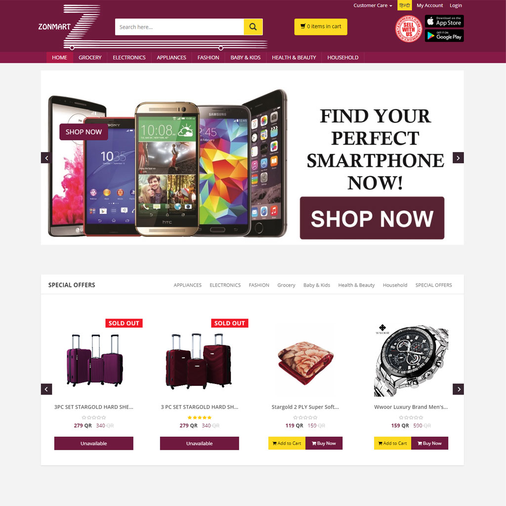 Zonmart Ecommerce Website Development