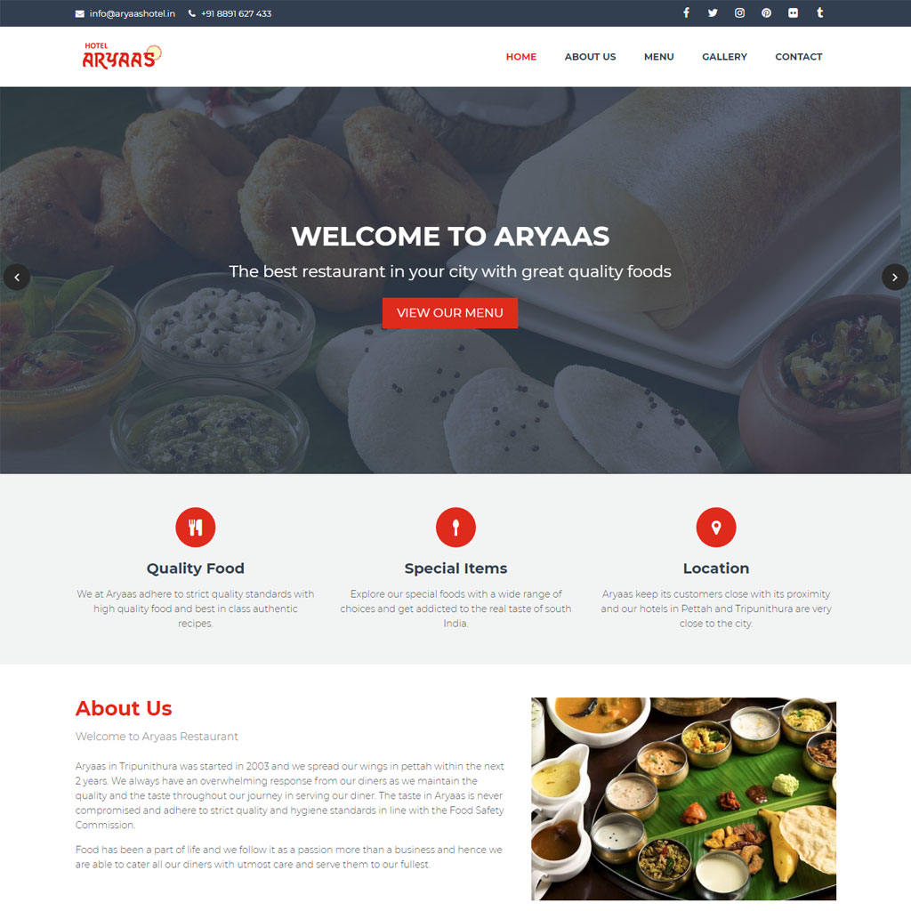hotel aryaas kochi digital marketing and website development kochi